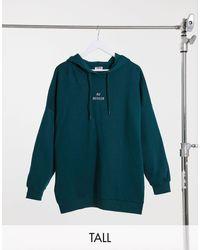Noisy May - Felpa con cappuccio oversize con scritta verde - Lyst
