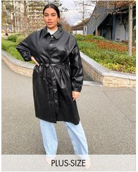 Collusion Plus Exclusive Pu Trench Coat - Brown