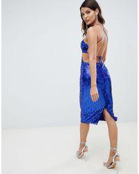 ASOS Vestito midi con spalline e paillettes - Blu