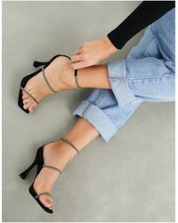 ASOS Negotiate Barely There Diamante High-heeled Sandals - Black