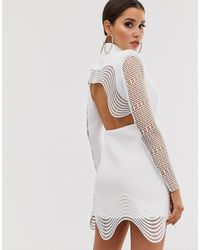 ASOS Lace Insert Cut Out Tux Blazer Mini Dress - White