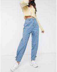 ASOS Lightweight Tapered Jeans With Tie Hem Lightwash-blue