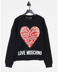 Love Moschino Черный Свитшот С Большим Сердцем И Логотипом -черный Цвет