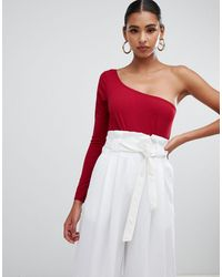 In The Style Crepe One Shoulder Body - Red