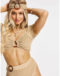 Missguided Crinkle Ring Detail Bikini Top With Matching Headband - Multicolour