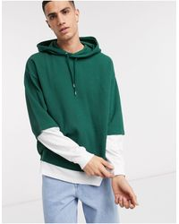 ASOS Oversized Double Layer Waffle Hoodie - Green