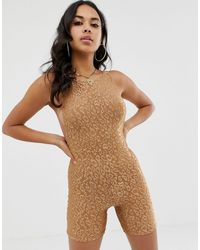 Motel Комбинезон-шорты С Леопардовым Принтом -коричневый