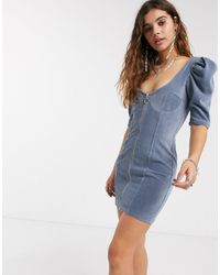 Bershka Cordrouy Zip Detail Dress - Blue