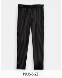 TOPMAN Big & Tall Striped Skinny Trackies - Black