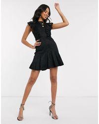 AX Paris - Черное Кружевное Платье Мини -черный - Lyst