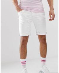 Blend Skinny Fit Denim Shorts In White