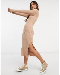 New Look Ribbed Turtle Neck Bodycon Dress - Natural