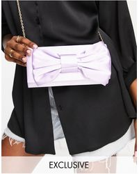 True Decadence Exclusive Foldover Clutch Bag With Bow Detail - Pink