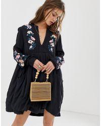 7e284edd63e8 Free People - Mia Floral Embroidered Shift Dress - Lyst
