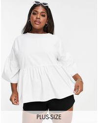 Simply Be Smock Top With Frill Sleeves - White