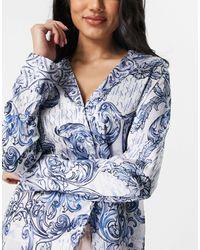 River Island Paisley Printed Satin Pyjama Co-ord Shirt - Blue