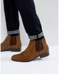 Ben Sherman - Chelsea Boots In Tan Suede - Lyst