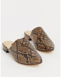 Truffle Collection Flat Pointed Mules In Snake - Multicolour