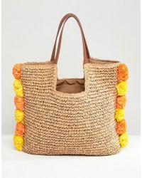Chateau - Pom Pom Trim Straw Beach Bag - Lyst
