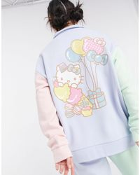 New Girl Order Oversized-свитшот В Стиле Колор Блок С Воротником Поло От Комплекта X Hello Kitty-голубой - Синий