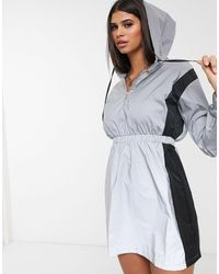 Daisy Street Reflective Hoody Dress With Contrast Panels - Grey