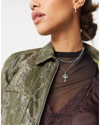 ASOS Multirow Choker Necklace With Gothic Cross And Blue Crystal - Multicolor