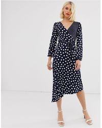 Oasis Spot Midi Dress - Blue