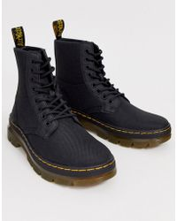 Dr. Martens Combs Nylon Ankle Boots In Black