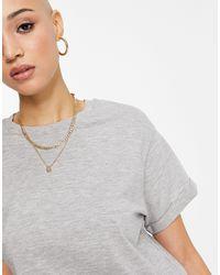 Miss Selfridge T-shirt à manches retroussées en coton biologique - Gris