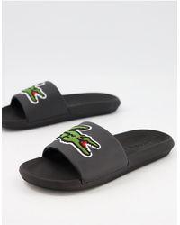 Lacoste Croco - Slippers Met Groot Logo - Zwart