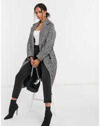 Helene Berman Wool Blend Double Breasted Oversized Coat - Grey