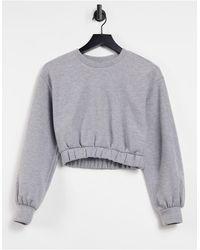 Pull&Bear Cropped Sweatshirt Co-ord - Grey