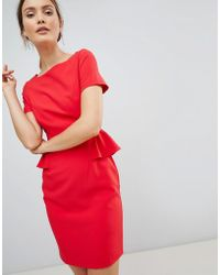Zibi London Pencil Dress With Frill Detail - Red