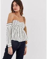 Lost Ink - Bardot Blouse In Stripe - Lyst