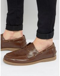 ASOS DESIGN - Boat Shoes In Tan Faux Leather With Gum Sole - Lyst