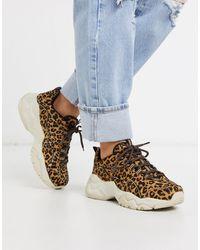 Skechers – D'Lites 3.0 – Sneaker mit Leopardenfellmuster und dicker Profilsohle - Mehrfarbig
