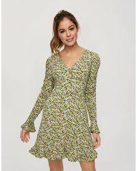 Miss Selfridge Зеленое Приталенное Платье Мини Со Свободной Юбкой И Цветочным Принтом -зеленый Цвет