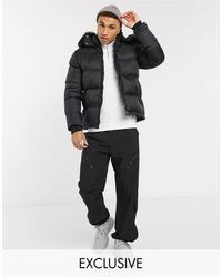 Schott Nyc 2190j Slim Fit Puffer Jacket With Detachable Faux Fur Hood - Black