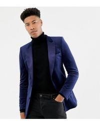 ASOS Skinny Blazer In Marineblauw Fluweel