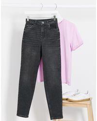 Pieces Leah Mom Jeans - Black