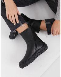 Camper Flatform Leather Boots - Black