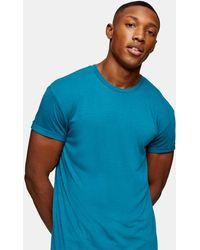 TOPMAN Longline T-shirt - Blue