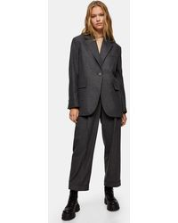 TOPSHOP Grey Oversized Flannel Blazer - Black