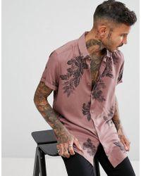 ASOS - Design Regular Fit Viscose Floral Shirt In Pink - Lyst