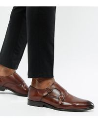 ASOS Wide Fit Monk Shoes In Brown Leather