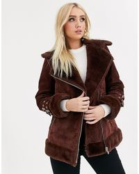ASOS Suede Aviator Coat With Faux Fur Lining - Brown