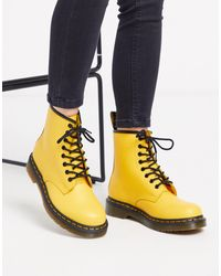 Dr. Martens Желтые Кожаные Ботинки 1460-желтый