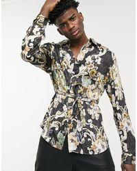 ASOS Kimono-overhemd Met Overslag, Riem En Bloemenprint - Metallic
