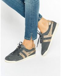 Gola - Classic Bullet Sneakers In Gray & Gold - Lyst