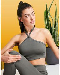 ASOS 4505 Halter Yoga Cami Top - Grey